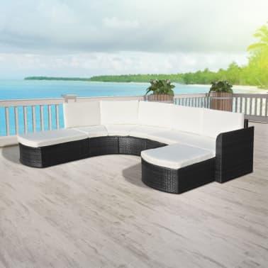 vidaXL Vrtna sedežna garnitura z blazinami 4-delna poli ratan črna[5/6]