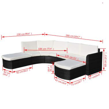 vidaXL 4-delige Loungeset met kussens poly rattan zwart[6/6]