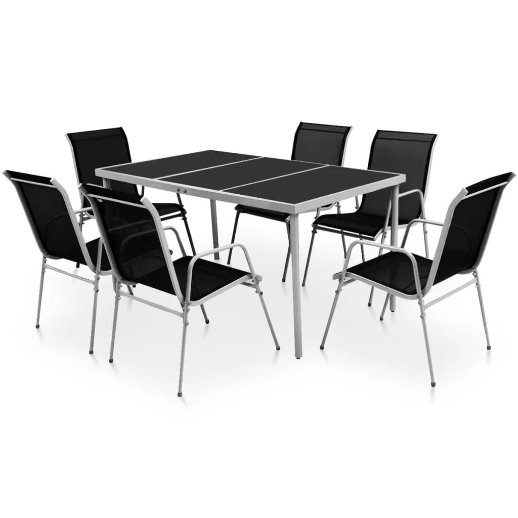 vidaXL Set mobilier de exterior, 7 piese, negru, oțel vidaxl.ro