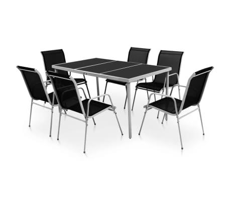 vidaXL Conjunto de muebles de comedor para jardín 7 piezas Negro ...
