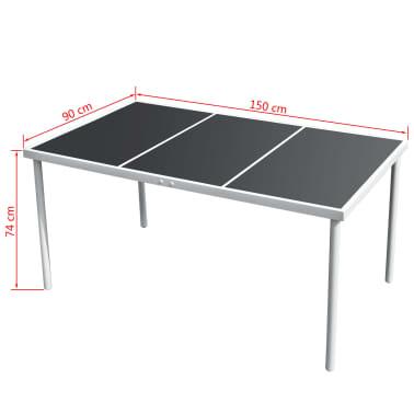 vidaXL 7 Piece Outdoor Dining Set Steel Black[5/6]