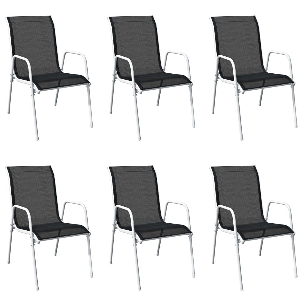 vidaXL Καρέκλες Τραπεζαρίας Εξωτερικού Χώρου 6 τεμ. Μαύρες