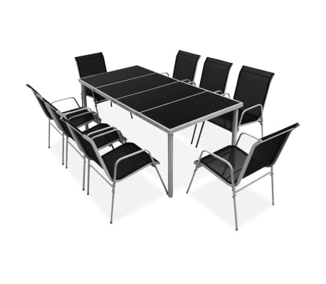 vidaXL 9 Piece Outdoor Dining Set Steel Black