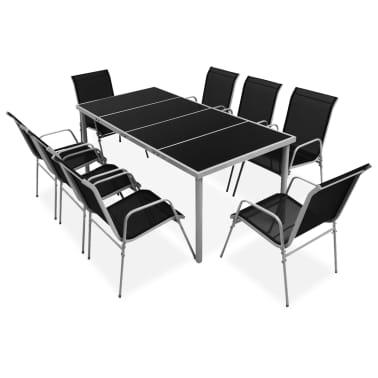 vidaXL Outdoor Dining Set 9 Pieces Black[1/6]