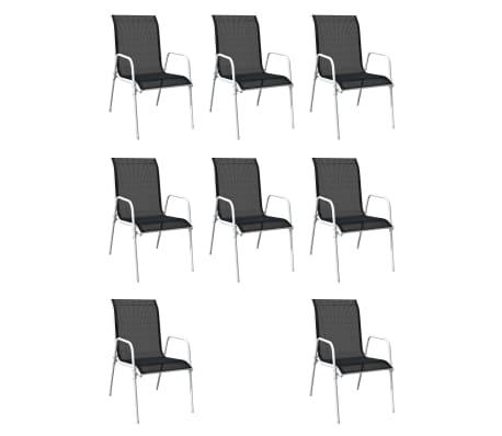 vidaXL Mobilier de salle à manger d'extérieur 9 pcs Acier Noir[3/6]