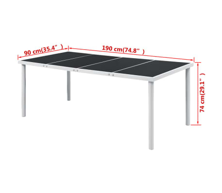 "vidaXL Outdoor Dining Table 74.8""x35.4""x29.1"" Black[3/3]"