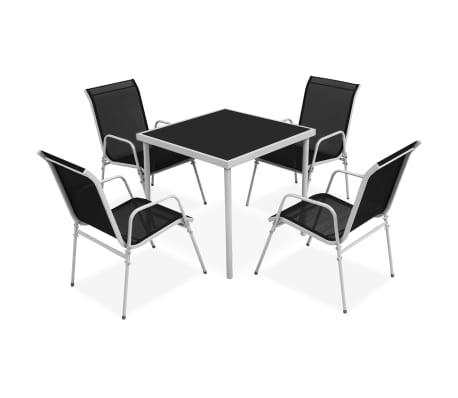 vidaXL Set mobilier de exterior, 5 piese, negru, oțel