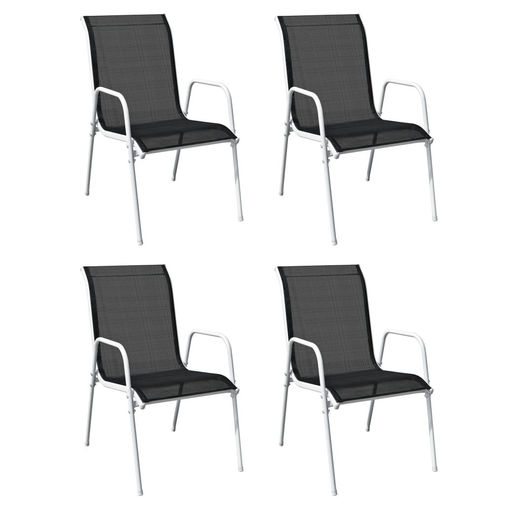 vidaXL 5-delige Tuinset staal zwart