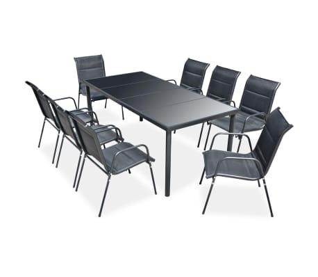 vidaXL Mobilier de salle à manger d'extérieur 9 pcs Acier Noir