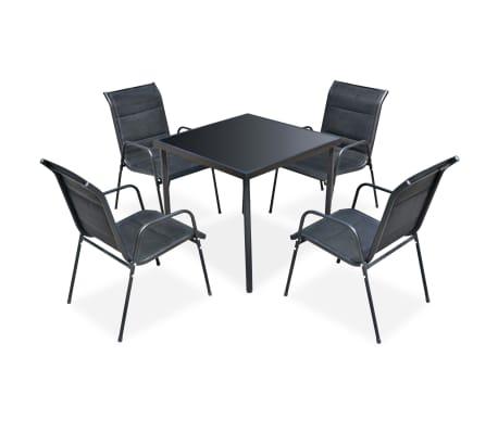vidaXL Ensemble de salle à manger d'extérieur 5 pcs Noir[1/5]