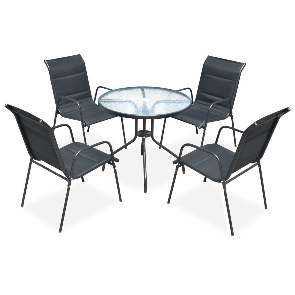 vidaXL 5dílný zahradní jídelní set ocelový černý