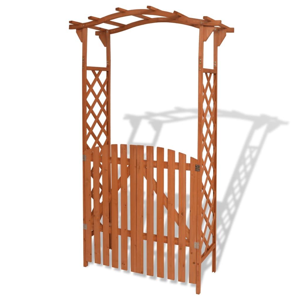 Afbeelding van vidaXL Tuinboog met poort massief hout 120x60x205 cm