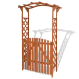 vidaXL Garden Arch with Gate Solid Wood 120x60x205 cm