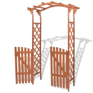 vidaXL Garden Arch with Gate Solid Wood 120x60x205 cm[2/6]