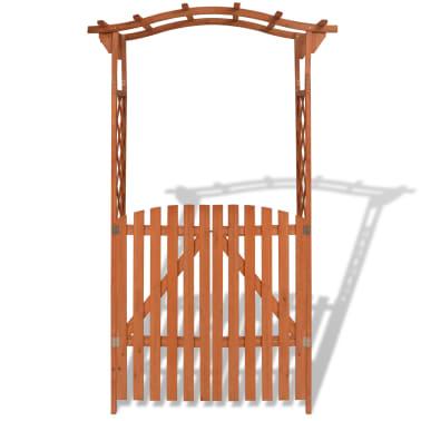 vidaXL Garden Arch with Gate Solid Wood 120x60x205 cm[3/6]