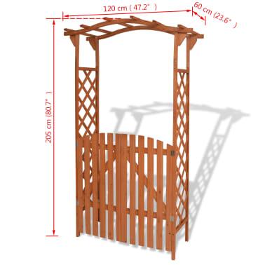 vidaXL Garden Arch with Gate Solid Wood 120x60x205 cm[6/6]