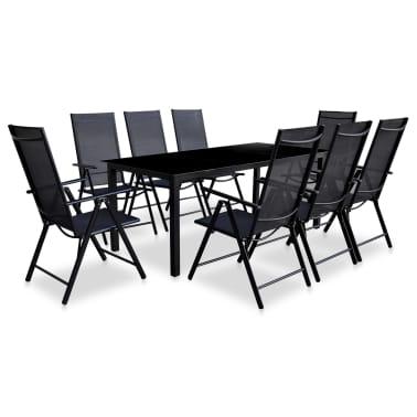 vidaXL Jeu de salle à manger de jardin 9 pcs Aluminium Noir[1/9]
