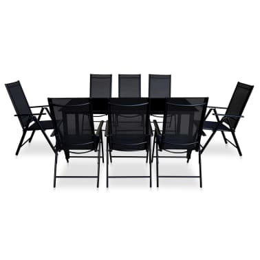 vidaXL Jeu de salle à manger de jardin 9 pcs Aluminium Noir[2/9]