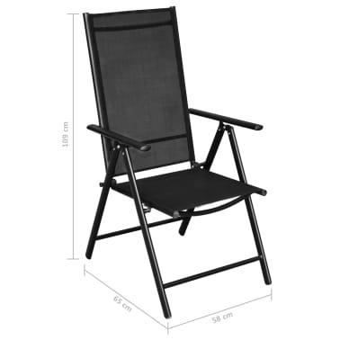 vidaXL Jeu de salle à manger de jardin 9 pcs Aluminium Noir[9/9]