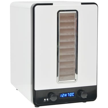 vidaXL Matdehydrator med 10 skuffer 550 W Hvit[2/7]