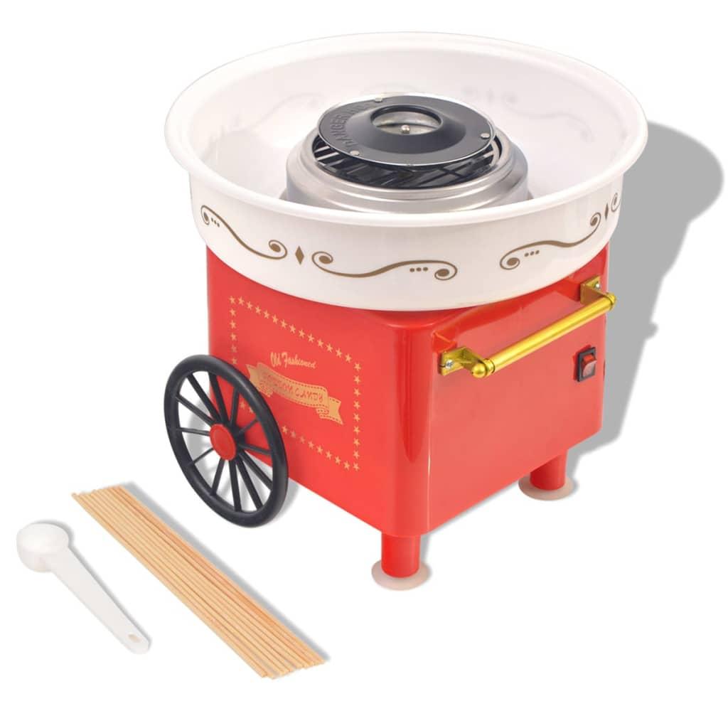vidaXL Mașină vată de zahăr cu roți, 480 W, roșie poza vidaxl.ro