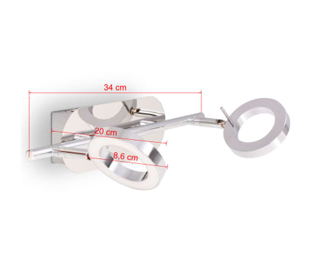 vidaXL LED-Deckenleuchte Wandleuchte mit 2 Lampen Warmweiß[13/15]