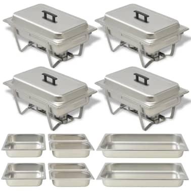 vidaXL Set vase încălzire mâncare, 4 piese, oțel inoxidabil[1/9]