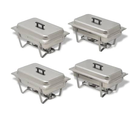 vidaXL Set vase încălzire mâncare, 4 piese, oțel inoxidabil[2/9]