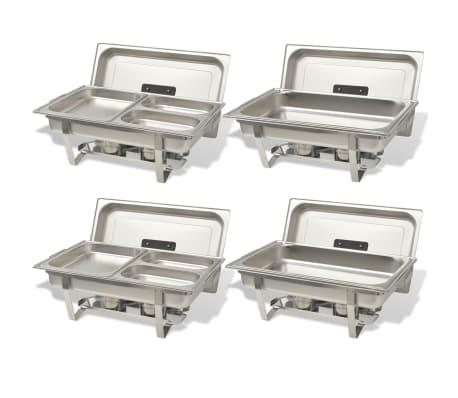vidaXL Set vase încălzire mâncare, 4 piese, oțel inoxidabil[3/9]