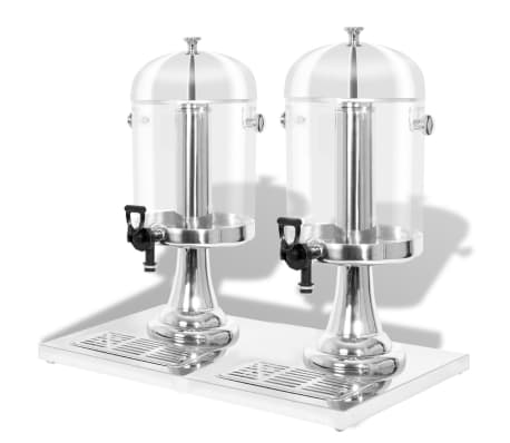 vidaXL Dispensador duplo de sumo aço inoxidável 2 x 8 L[1/6]