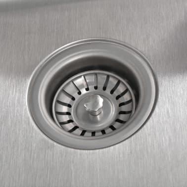 vidaXL Kuchyňský dřez s odpadem a sifonem, nerezová ocel[4/7]