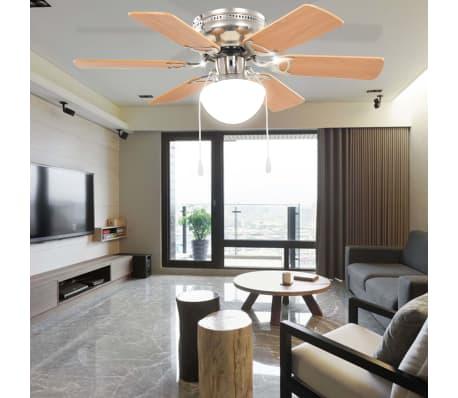 vidaXL Ventilateur de plafond orné avec lumière 82 cm Marron clair[9/11]