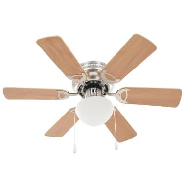 vidaXL Ventilateur de plafond orné avec lumière 82 cm Marron clair[2/11]