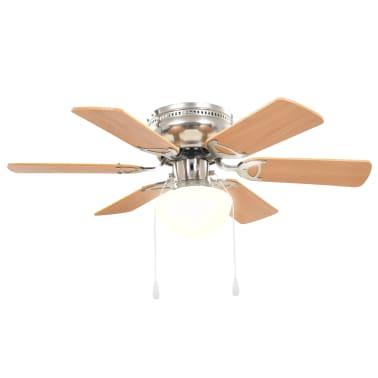 vidaXL Ventilateur de plafond orné avec lumière 82 cm Marron clair[4/11]