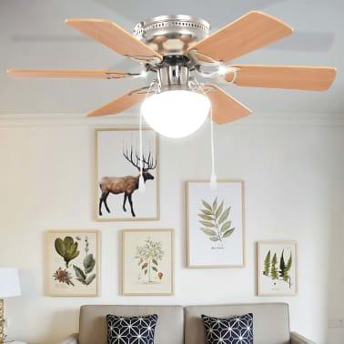 vidaXL Ventilateur de plafond orné avec lumière 82 cm Marron clair[8/11]