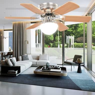 vidaXL Ventilateur de plafond orné avec lumière 82 cm Marron clair[10/11]