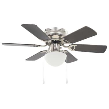 vidaXL Puošnus lubų ventiliatorius su šviesele, 82cm, tamsiai rudas[1/11]