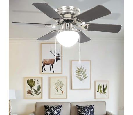 vidaXL Puošnus lubų ventiliatorius su šviesele, 82cm, tamsiai rudas[8/11]