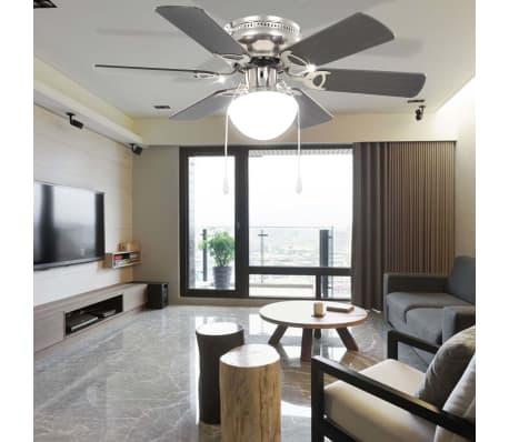 vidaXL Puošnus lubų ventiliatorius su šviesele, 82cm, tamsiai rudas[9/11]