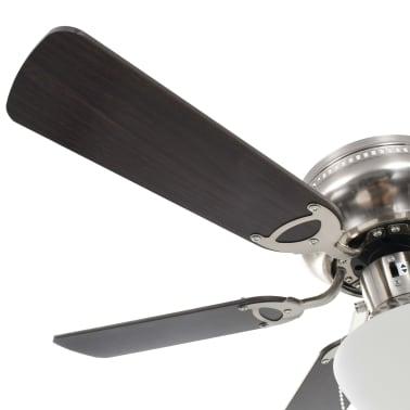 vidaXL Puošnus lubų ventiliatorius su šviesele, 82cm, tamsiai rudas[5/11]