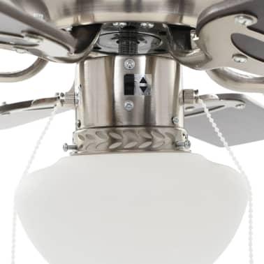 vidaXL Puošnus lubų ventiliatorius su šviesele, 82cm, tamsiai rudas[6/11]