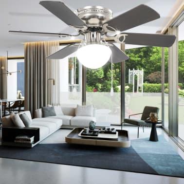 vidaXL Puošnus lubų ventiliatorius su šviesele, 82cm, tamsiai rudas[10/11]