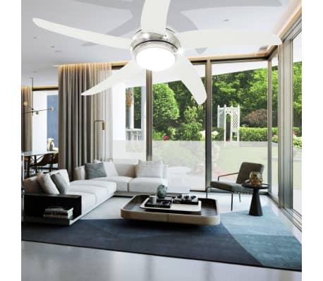 vidaXL Puošnus lubų ventiliatorius su šviesele, 128cm, baltas[13/14]