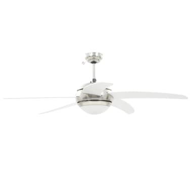 vidaXL Puošnus lubų ventiliatorius su šviesele, 128cm, baltas[4/14]