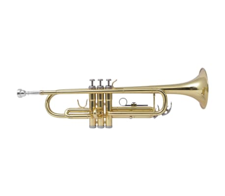 vidaXL Trumpet Yellow Brass with Gold Lacquer Bb[1/9]