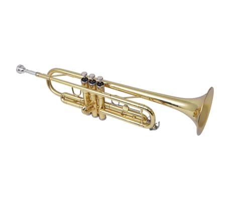 vidaXL Trumpet Yellow Brass with Gold Lacquer Bb[2/9]