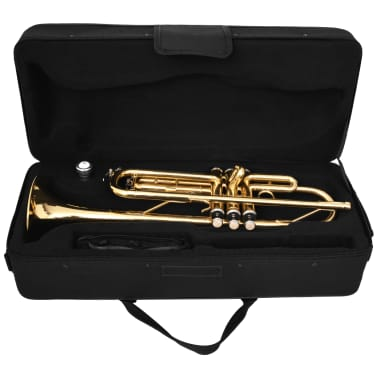 vidaXL Trumpet Yellow Brass with Gold Lacquer Bb[7/9]