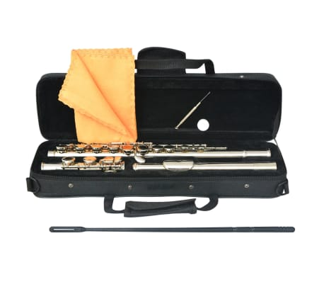 vidaXL Silver Flute with Soft Case 16 Holes[4/5]