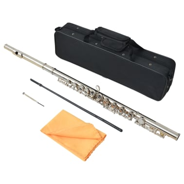 vidaXL Silver Flute with Soft Case 16 Holes[3/5]