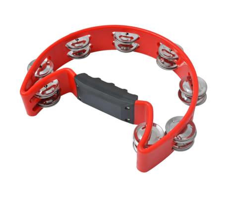 vidaXL Tamburin Set 3 Stk. Kunststoff Rot[4/4]